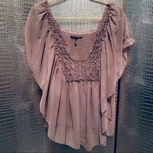 Dusty Lavender Sheer Butterfly Top w/ Crochet XL